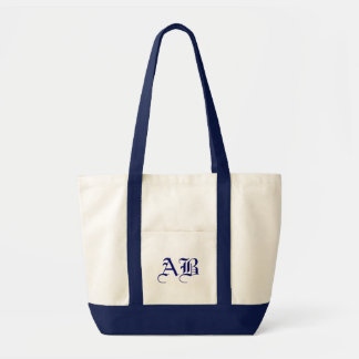 Impulse natural/navy Tote Monogram Template