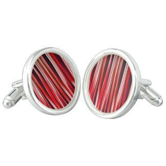 Impulsive Adventure Red Striped Abstract Pattern Cufflinks