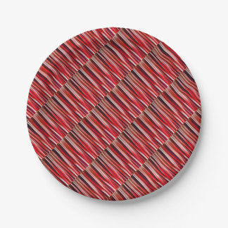 Impulsive Adventure Red Striped Abstract Pattern Paper Plate