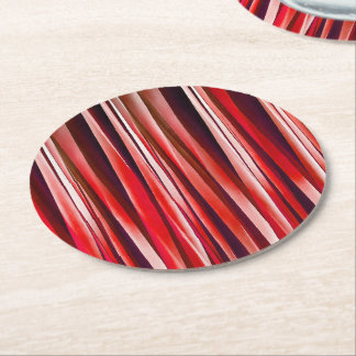 Impulsive Adventure Red Striped Abstract Pattern Round Paper Coaster