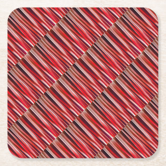 Impulsive Adventure Red Striped Abstract Pattern Square Paper Coaster