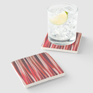 Impulsive Adventure Red Striped Abstract Pattern Stone Coaster
