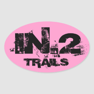 IN.2 Trail Running Oval Decal Black On Pink Oval Sticker