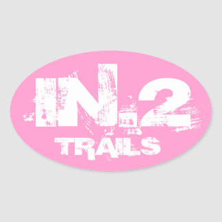 In.2 Trail Running Oval Decal White On Pink Oval Sticker