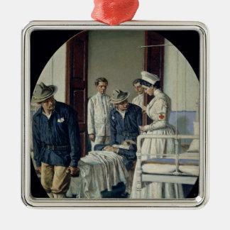 In a military Hospital Silver-Colored Square Ornament