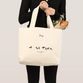 in a pie! birdies large tote bag