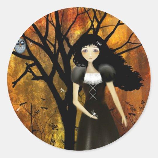 In an Autumn Forest Classic Round Sticker