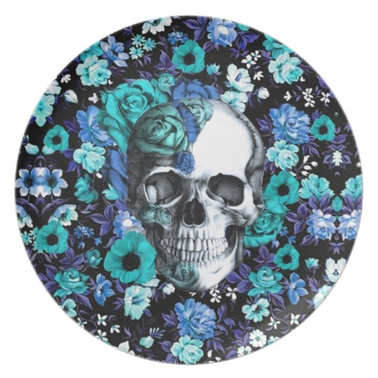In bloom blue floral skull plate