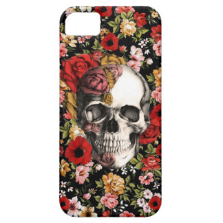 In bloom, retro floral pattern with skull iPhone 5 case