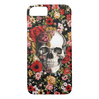 In bloom, retro floral pattern with skull iPhone 7 case