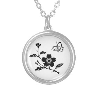 In branch cherry tree medium shade cherry tree silver plated necklace