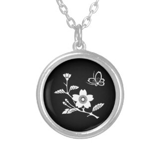 In branch cherry tree medium shade flying silver plated necklace