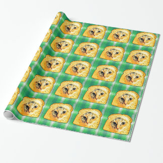 In Bread Cat,  Green Plaid Wrapping Paper