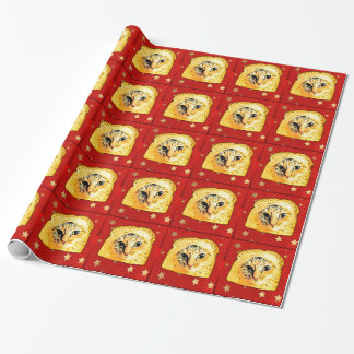 In Bread Cat,  Red Stars Wrapping Paper