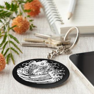 In carp water basic round button keychain