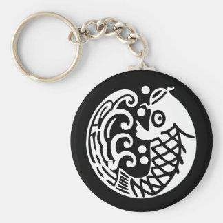 In carp wave basic round button keychain