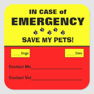 In Case of Emergency Alert Rescue Pet Stickers