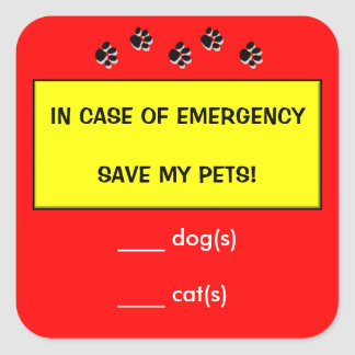 In Case of Emergency Alert Rescue Pets Stickers