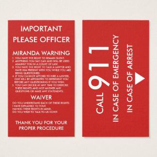 In Case Of Emergency&Arrest Warning Business Card