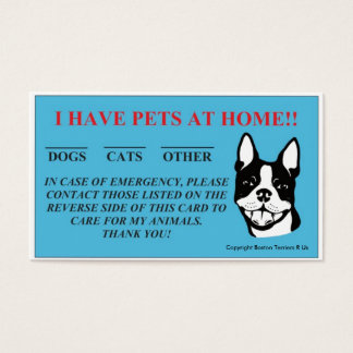 """""""In Case Of Emergency, I Have Pets At Home"""" Cards"""