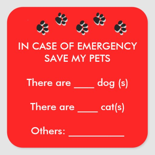 In Case of Emergency Save My Pets Sticker