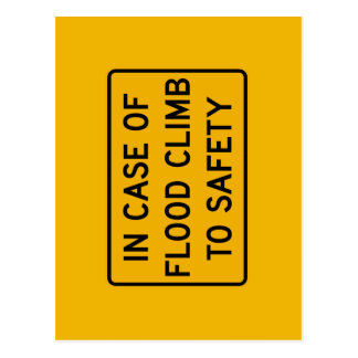 In Case of Flood, Traffic Warning Sign, USA Postcard
