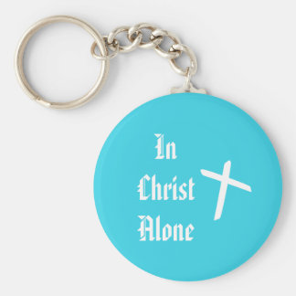 In Christ Alone blue and white Keychain