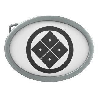 In circle corner raising four squares belt buckles