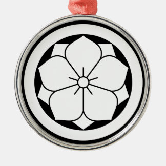 In circle eightfold Kikiyou Silver-Colored Round Ornament