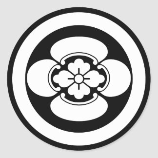 In circle Japanese quince Classic Round Sticker