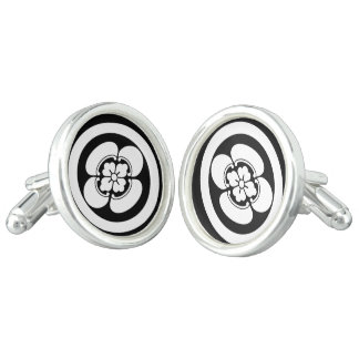 In circle Japanese quince Cufflinks