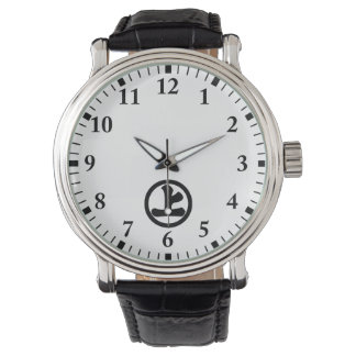 In circle letter above watch