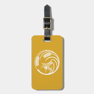 In circle of one rice plant sparrow bag tag
