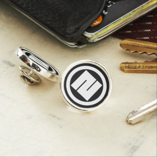 In circle one angular letter lapel pin