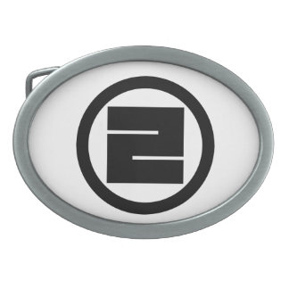 In circle one angular letter oval belt buckle