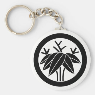 In circle root bamboo grass basic round button keychain