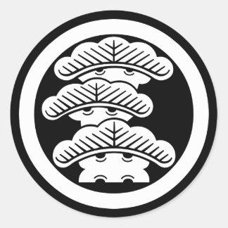 In circle the left three floor pine round sticker