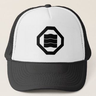 In corner cutting angle quaver three trucker hat