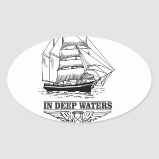 in deep water serious oval sticker