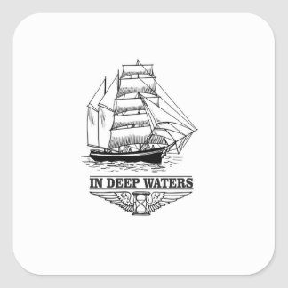 in deep water serious square sticker