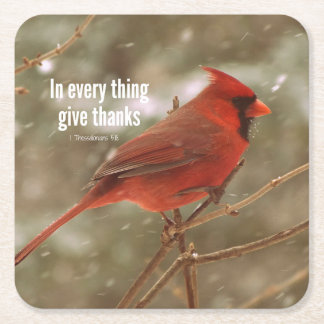 In everything, Give Thanks Bible Verse Square Paper Coaster