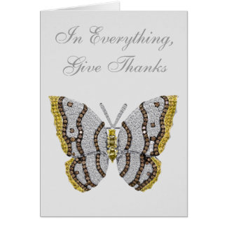 In Everything, Give Thanks Diamond Butterfly Card