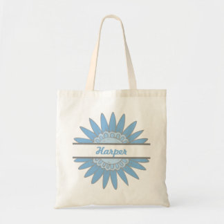 In Full Bloom Personalized Small Tote (Blue)