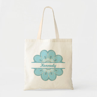 In Full Bloom Personalized Small Tote (Turquoise)