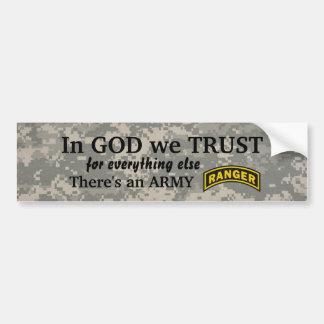 in god we trust Army ranger camo bumper Bumper Sticker