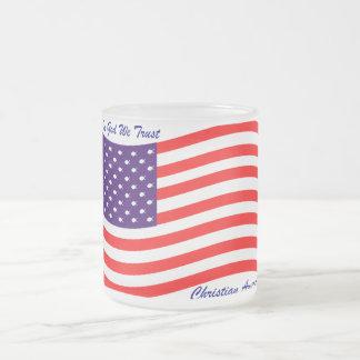 In God We Trust ~ Christian America 10 Oz Frosted Glass Coffee Mug