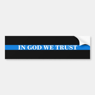 """IN GOD WE TRUST"" ON THIN BLUE LINE BUMPER STICKER"