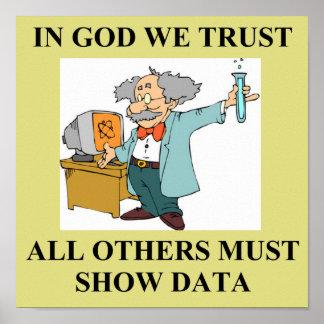 in god we trust science joke poster