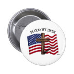 In God We Trust with rugged cross and US flag 2 Inch Round Button