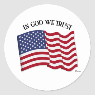 In God We Trust with US flag Round Sticker